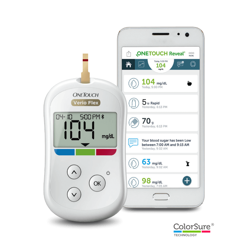 OneTouch Verio Flex® meter with OneTouch Reveal® mobile app